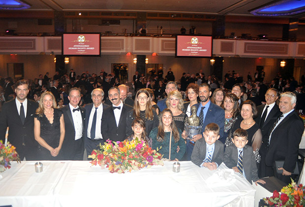 The Honoree Eftratios Valiamos with family and friends
