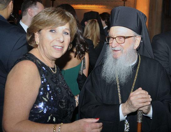 Event Chair Kassandra Romas with Archbishop Demetrios