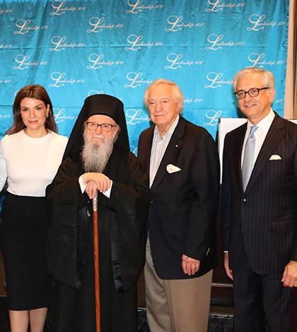 Dr. Anthony Papadimitriou, Afroditi Panagiotakou, Archbishop Demetrios, George Behrakis and George Tsandikos