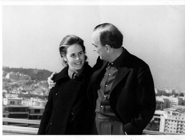 Director Ingmar Bergman with this wife at Hilton's roof top enjoying the Acropolis view