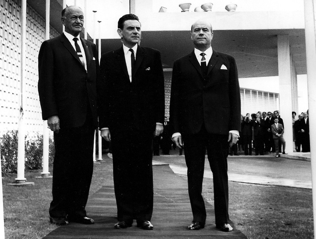 Conrad Hilton, with government Minister Panagiotis Papalegouras and ship magnate Stratis Andreadis at the inauguration of Hilton Athens