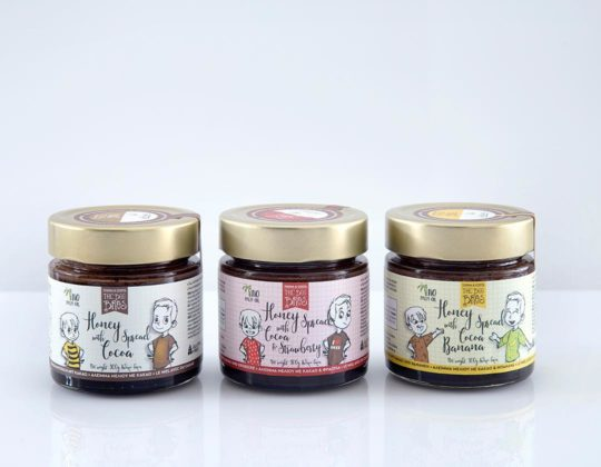 """The Bee Bros"" line, a healthy alternative to Nutella. It's three flavors of honey with cocoa"