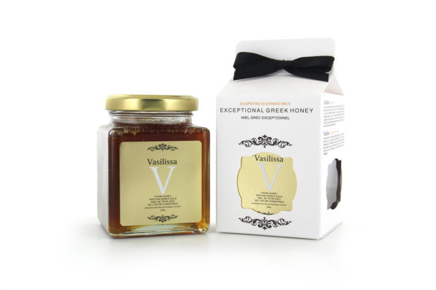 The Vasillissa honey mixed with 24K edible-gold, already exported in about 10 countries