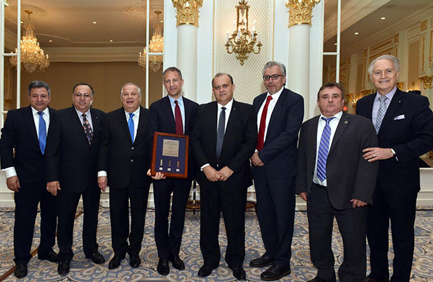 Deputy Assistant Secretary of State for European and Eurasian Affairs Jonathan Cohen receives the Frizis Award with leaders of (L to R) POMAK, AHEPA, PSEKA, AHI, US-Cyprus Chamber, HANC, CEH, PHOTOS: BILL PETROS