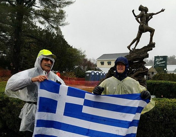 Jimmy and Mike at Mile 1 of the race at the statue of Stylianos Kyriakides
