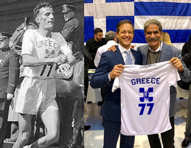 Jimmy and Mike with the replica of the same jersey Kyriakides wore