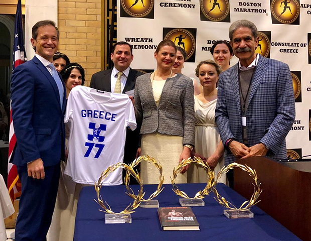 Mike and Jimmy with the grandchildren of Stylianos Kyriakides, Maria and George Contos, and the golden wreaths flown in from Greece to crown the winners of the Boston Marathon