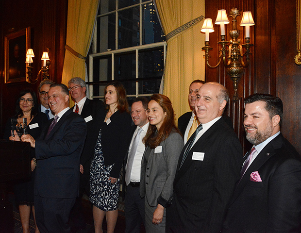 Daniel S. Janis the 3rd receiving HABA's Executive of the Year Award. From left are, Fanny Trataros, President of HABA, James Gerkis, the honoree, Robert Savage, Sophia Prountzos, Nick Lionas, Anna Sembos, Costas Kellas, Emmanuel Caravanos and George Maroulis