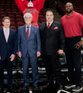 Left to Right: Chicago Bulls President and COO Michael Reinsdorf, Calamos Investments Founder John Calamos, Calamos Investments CEO John Koudounis and Chicago Bulls Legend Horace Grant.