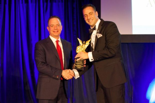 Former White House Chief of Staff Reince Priebus receiving the Paradigm Award from PHSF Secretary & Trustee Athan P. Sotos; All photos courtesy of Sofia Spentzas - Spiral Art Design