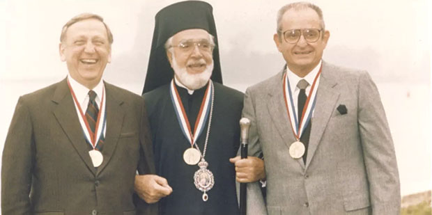 Three Greek American Giants: from right, Alex Spanos, Archbishop Iakovos and John Brademas