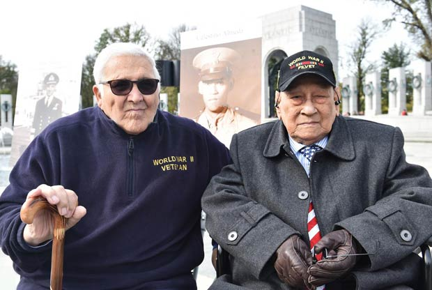 WWII Veterans Georeg Possas and Celestino Almeda at the National WWII Memorial ceremony