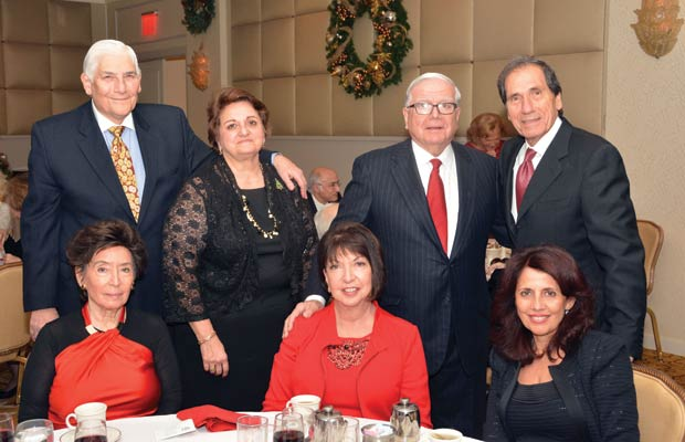 Ted & Christine Malgarinos, Leonard Zangas, Steve Michailidis. Sitting from left, Mary Vlock, Penny Zangas and a guest, PHOTO: ETA PRESS