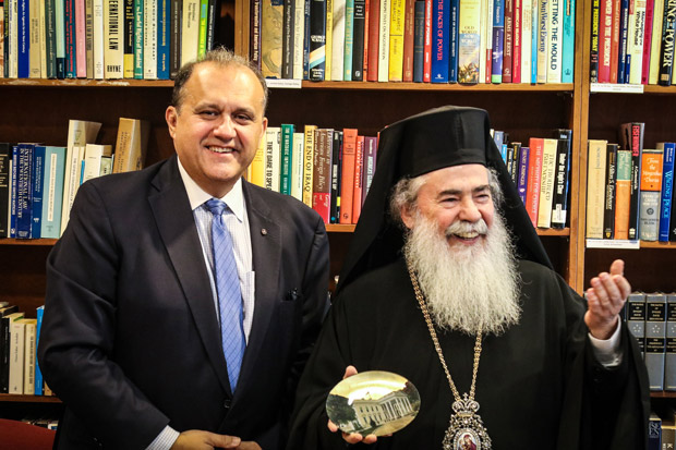 AHI President Nick Larigakis welcomes Patriarch Theophilos III
