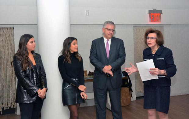 From left, the event hostesses Callie Pantelidis & Anastasia Pantelidis, L100 Chairman Argyris Vassiliou and L100 Executive Director Paulette Poulos; PHOTO: ETA PRESS