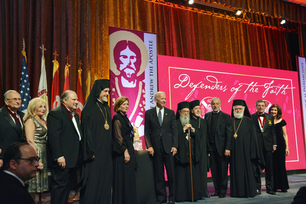 Former Vice President Joe Biden with Archbishop Demetrios, hierarchs, members of the Archons Order and the honorees