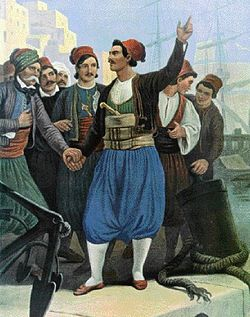 Antonis Economou, a Hydriot captain and member of the Philike Etairia, who ousted the Turkish appointed governor and brought the Revolution to Hydra (Painting by Peter von Hess)