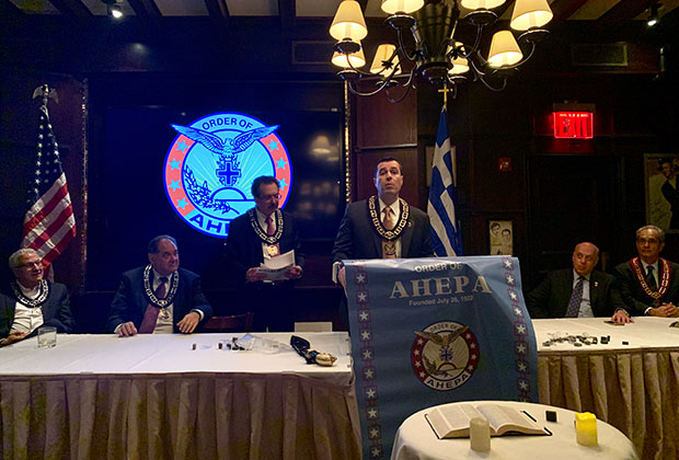 AHEPA Supreme Vice President Jimmy Kokotas making official that Delphi #25 is the organization's largest