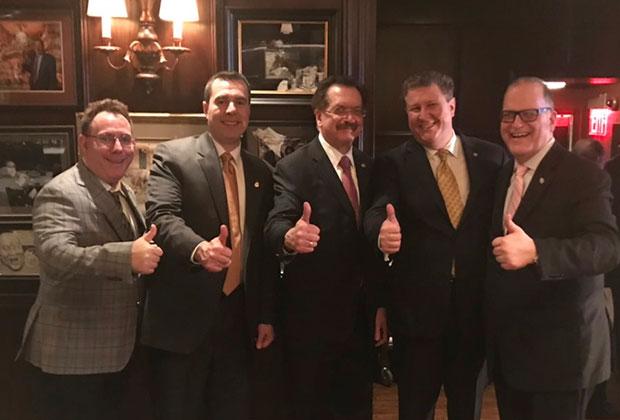 From left, Michael Papaphotes, former District 6 Governor, Jimmy Kokotas AHEPA Supreme V.P., Lou Katsos, Takis Karamoutsos, AHEPA Hellas, Argyris Argitakos