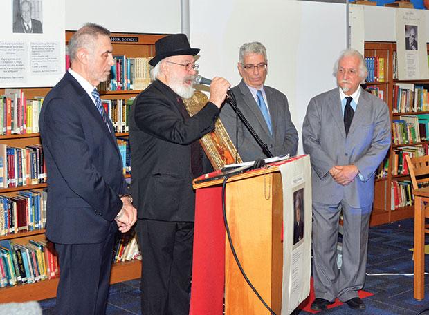 Dr. Ioannis Nathenas with Dimitris Molohidis, President of the Pan-Pontian Federation of USA & Canada, Dr. Panos Stavrianidis and Dr. Demosthenes Triantafillou; PHOTOS: ETA PRESS