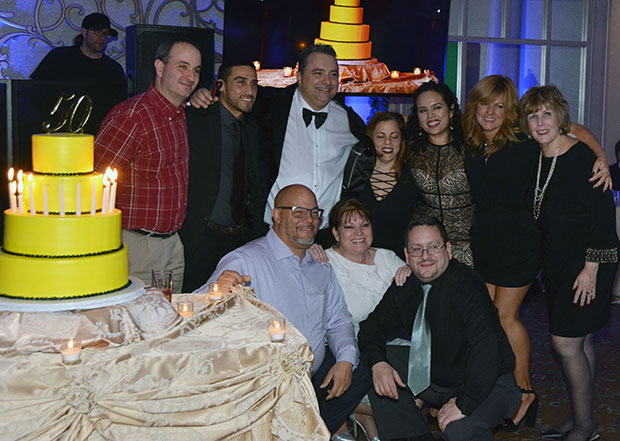 Angelo with his work family - The Achieve Now Academy: Tony Cipolla, Pablo Ocampo, Paula Levine, Lissette Salas-Ocampo, Robin Bentvena, Alice Gluszak, Kneeling - Michael Irizary, Eileen Norris and Dennis Merced