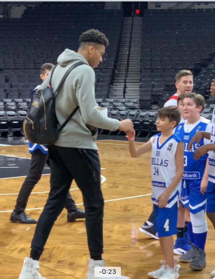 At the Madison Square Garden, meeting Giannis Antetokounmpo
