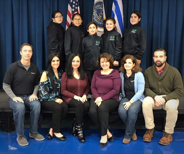 The 2019 National History Day Team (NHD) of the Hellenic Classical Charter School in Brooklyn with principals and instructors