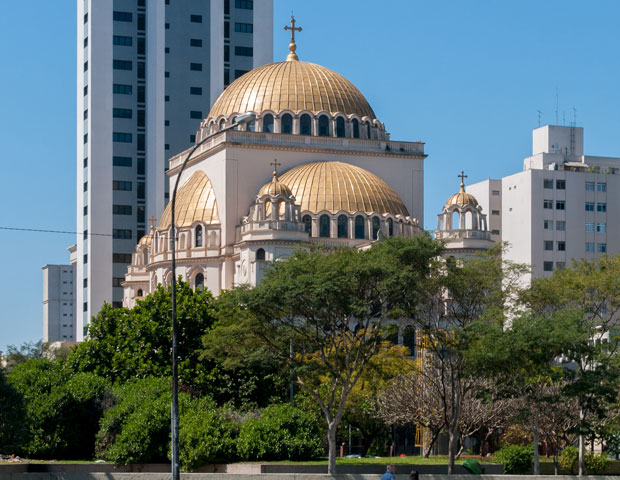The Metropolitan Orthodox Cathedral in Sao Paulo. Conceived by Paulo Tafic Camasmie and based on the Church of Haghia Sofia in Constantinople, it was inaugurated in 1954