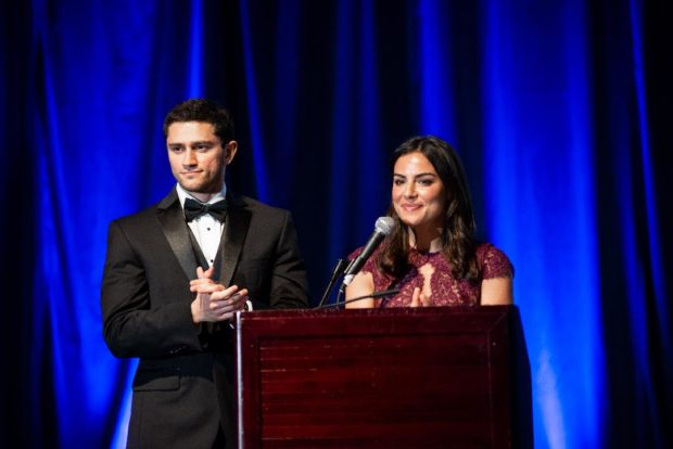 Previous PanHellenic Scholarship Recipients Tim Gianitsos & Christina Moniodis served as Master & Mistress of Ceremonies