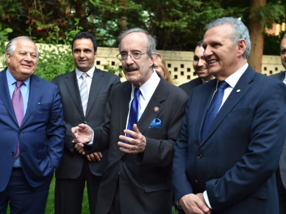 Chairman of the House Foreign Affairs Committee Eliot Engel with (L-R) Philip Christopher, Kyriakos Papastylianou, Presidential Commissioner Photis Photiou