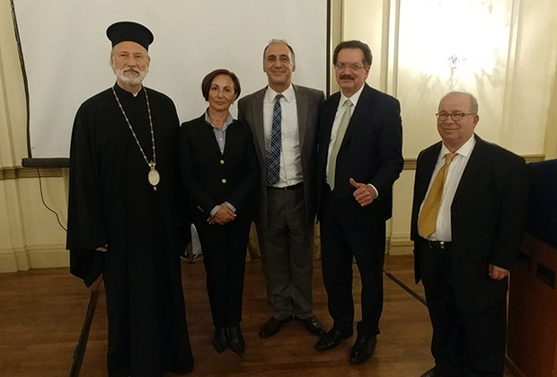 From left, Bishop Irinej, Consul Marjana Zivkovic, Alexander Billinis, Lou Katsos and Stamatis Ghikas. PHOTO: ETA PRESS