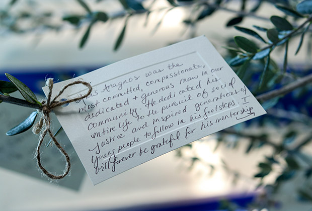 Kelly Vlahakis' note on Aris Anagnos' memorial tree