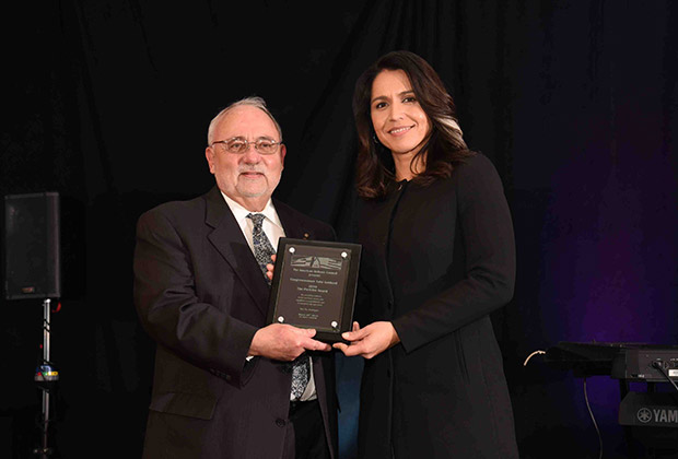 Dr. James F. Dimitriou and Pericles Award Honoree, Hawaii 2nd Congressional District Representative and Presidential Candidate, Tulsi Gabbard