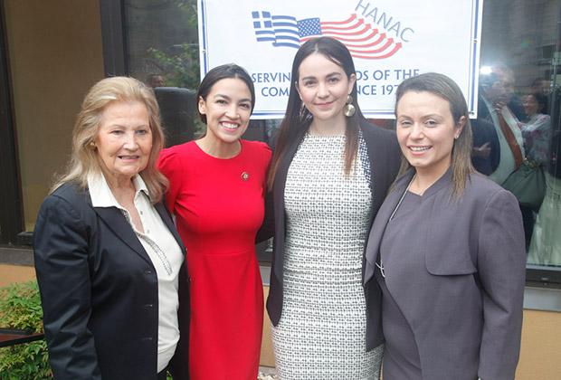 From left, Evangeline Douris, Chairman of HANAC's Board. Congresswoman Alexandria Ocasio-Cortez, Paola Duran, Director of Housing Development, HANAC, and Stacy Bliagos, Executive Director, HANAC
