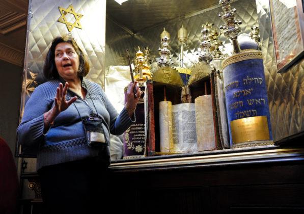 Kehila Kedosha Museum Director Marcia Haddad Ikonomopoulos in the Yanina Synagogue. Photo by Brad Horrigan