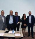 The speakers. From left, Emmanuel Velivasakis, Georges Stassinakis, Nicholas Alexiou, Despina Afentouli and Dean Efkarpidis