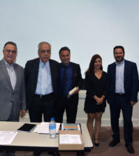 The speakers. From left, Emmanuel Velivasakis, Georges Stassinakis, Nicholas Alexiou, Despina Afentouli and Dean Efkarpidis