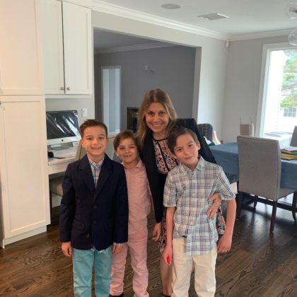 Vivian Vonortas Jepp with husband Erik and their three sons, Michael, Alex and Dino