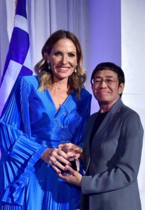 Oxi Courage Award recipient Maria Ressa and presenter Danialle Karmanos