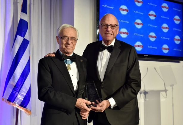 2018 Metropolitan Chrysostomos Award recipient Howard Lorber presents the 2019 award to Congressional Medal of Honor recipient Colonel Jack Jacobs