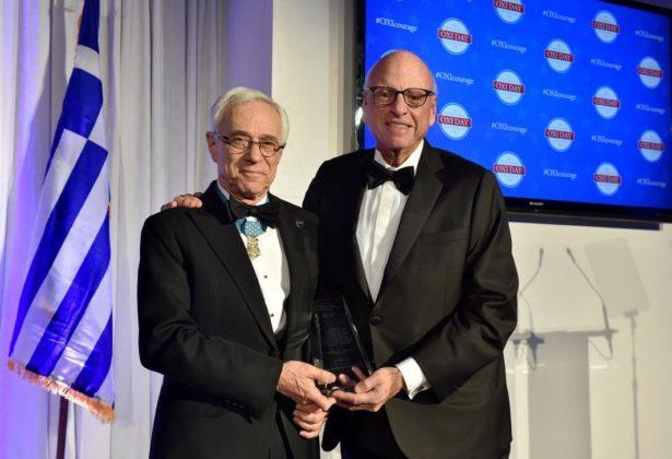 2018 Metropolitan Chrysostomos Award recipient Howard Lorber presents the 2019 award to Congressional Medal of Honor recipient Colonel Jack Jacobs