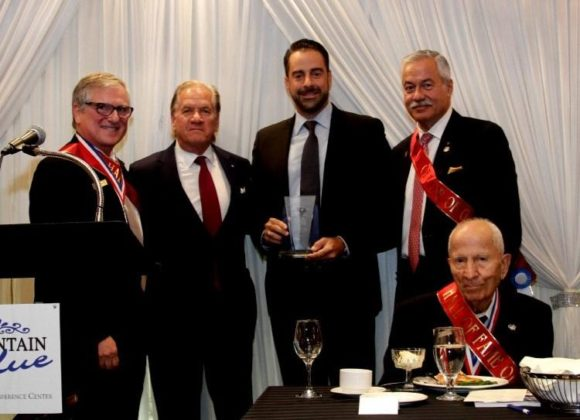 PanHellenic Trustees Robert A. Buhler, Tom Sotos, and John Manos with UHVA members Peter Karahalios and Honorary National Supreme Chairman & Founder Dr. Dimitris G. Kyriazopoulos