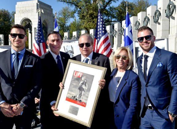 (L-R) Phillip Ruhl, Congressman Darrell Issa, Alex Spanos' son Dean Spanos and daughter-in-law Susie Spanos, Michael Spanos