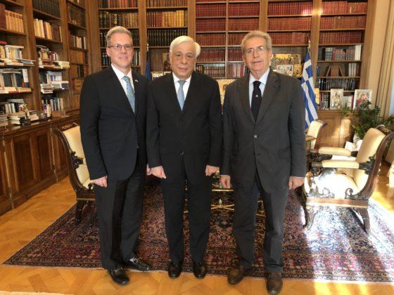 Drake with President of Greece Prokopis Pavlopoulos and cousin Panagiotis Behrakis