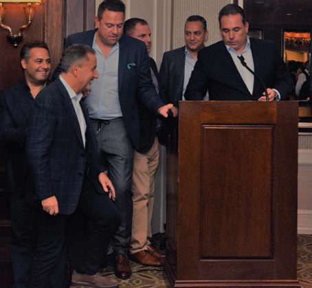 The organizing committee for Heritage Greece Fundraiser: Paul Tsoumpariotis, Nick Pashalis, Demetri Belesis, Steve Spuccess, Nick Katopodis, John Frankis; PHOTO: ETA PRESS