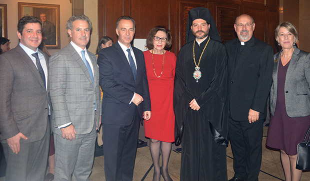 George Sophocles, Michael Bapis, Consul General of Greece, Dr. Konstantine Koutras, Paulette Poulos, Bishop Apostolos of Medeia, Fr. Nick Anctil, Evelyn Kanellea, Cultural and Public Relations Officer in New York Greek Consulate, PHOTO: ETA PRESS