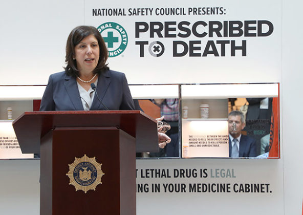 DA speaking at National Safety Council's traveling Opioid Memorial