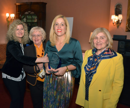Stella receiving the AGAPW Woman of the Year Award 2019 from President Olga Alexakos (1st from left). Also in photo her mother Stella Lymberis