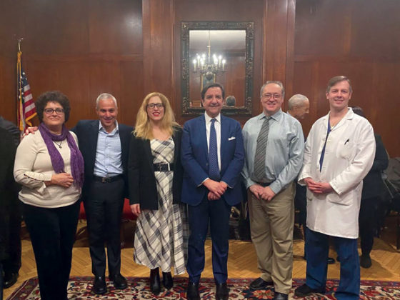 Hippocratic Conference at Lenox Hill with Dr Stella Lymberis, Dr Manolas President of Hellenic Medical Society (3rd from left), Cathy Economou, and Michael Plakogiannis, MD far right.