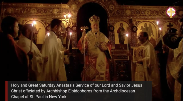 Anastasi service streamed on Facebook from the Archdiocese in New York, officiated by His Eminence Archbishop Elpidophoros. FACEBOOK SCREENSHOT